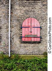 ventana, viejo, detalle