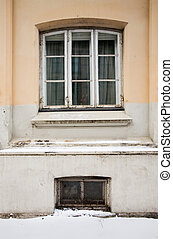 ventana, viejo, europeo