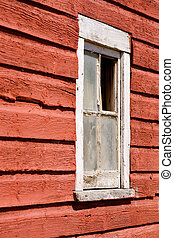 ventana, viejo, granero