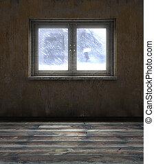 ventana, viejo, habitación
