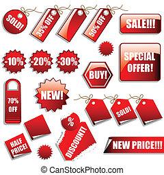 ventas, etiquetas, y, pegatinas