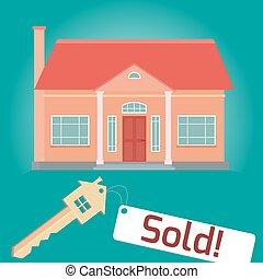 ventas, ilustración, hogar