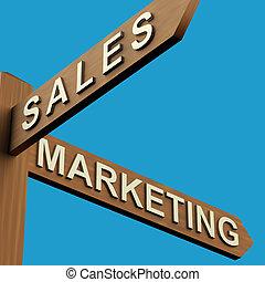 ventas, o, mercadotecnia, direcciones, en, un, poste indicador