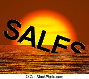ventas, palabra, hundimiento, actuación, reducido, ingresos, y, ganancia