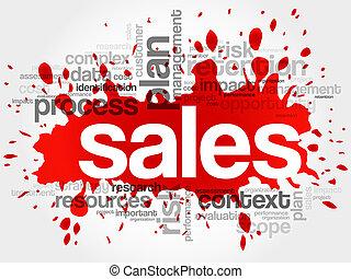 ventas, palabra, nube