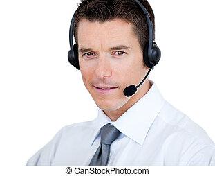 ventas, seguro, auriculares, representante, hombre