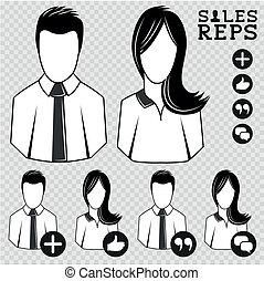 ventas, vector, gente