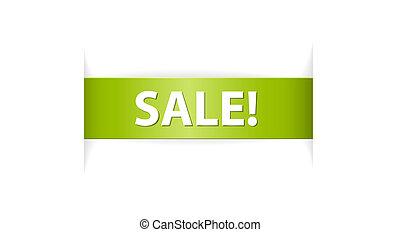 vente étiquette, papier, vert, nouveau, ruban