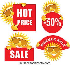 vente, étiquettes, soleil