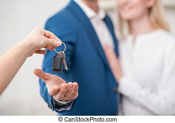 vente, agent, maison, gai, propriété