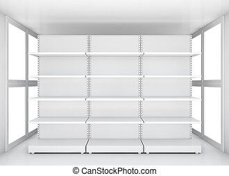 vente au détail, espace, exposition, vide, étagères
