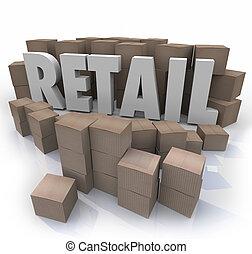 vente au détail, mot, boîtes, produits, inventaire, carton, ...