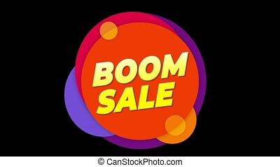 vente, autocollant, boom, animation., coloré, popup, texte