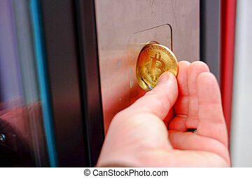 vente, bitcoin, cryptocurrency, maching, utilisation, paiement