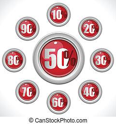 vente, boutons, lustré, pourcentage, nombres rouges