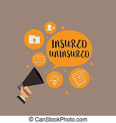 vente, business, photo, projection, uninsured., écriture, note, assuré, choisir, liste contrôle, showcasing, compagnie, assurance