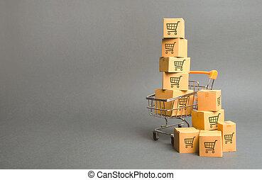 vente, carts., ligne, charrette, dessin, commerce, platforms., livraison, par, puissance, marchandises, commerce, ventes, achat, e-commerce, sale., plus petit, boîtes, shopping., achats, order.