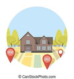 vente, concept, maison, propriété, loyer, vrai