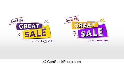 vente, conception, bannière, vecteur, spécial, ruban, offre, grand