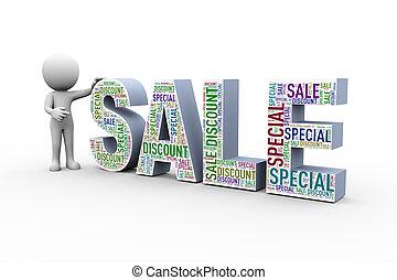 vente, escompte, wordcloud, 3d, spécial, homme