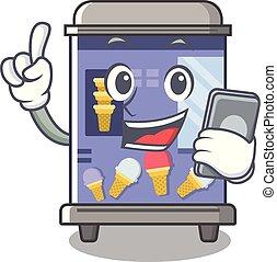 vente, formé, caractère, glace, machine, téléphone, dessin animé, crème