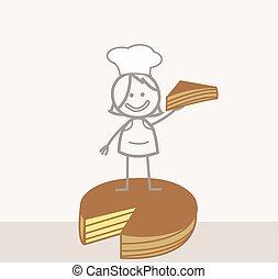 vente, gâteau, griffonnage