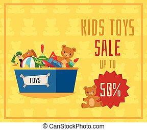 vente, gosses, vecteur, bannière, plat, jouets, illustration., ou, boîte, aviateur