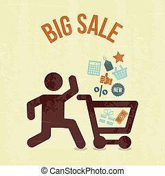 vente, grand, achats