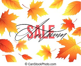 vente, illustration, leaves., automne, vecteur, fond, automne, bannière