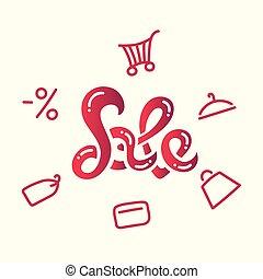 vente, inscription., vente, icons., hand-lettering.