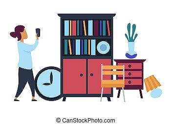 vente, marché, meubles, photo, confection, puce, femme