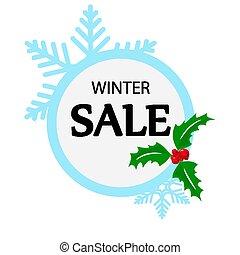 vente, minimaliste, hiver, bannière