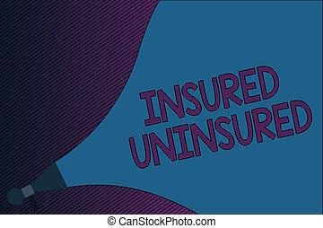 vente, photo, projection, uninsured., signe, assuré, texte, choisir, liste contrôle, conceptuel, compagnie, assurance