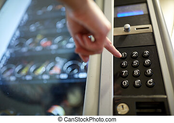 vente, poussée bouton, main, machine, clavier