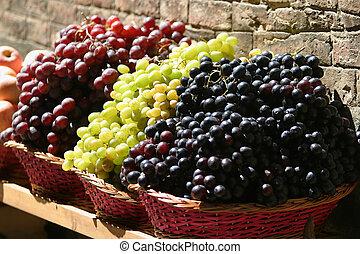 vente, raisins
