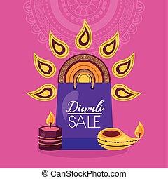vente, sac à provisions, bougies, diwali, carte