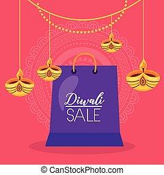 vente, sac à provisions, bougies, pendre, diwali, carte