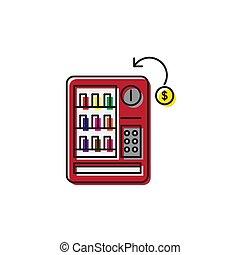vente, signe, illustration, vecteur, fond, icône, machines