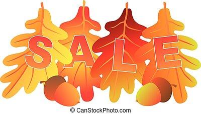 vente, texte, sur, couleurs chute, feuilles chêne