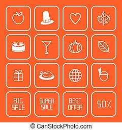vente, thanksgiving, icônes