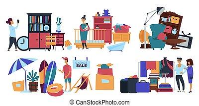 vente, vendeur, vente, maison, vieux, garage, personne, remplir