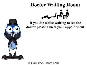 venter, doktor, rum, tegn