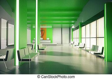 venter, grønne, kontor, område
