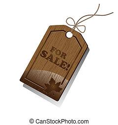 ventes, étiquette, bois