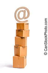 ventes, boîtes, symbole, shopping., ligne, internet., carton, réalisation, email, services, concept, par, top., marchandises, achat, achats, tour, vente