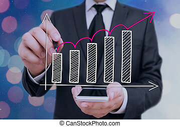 ventes, croissant, ou, économies, concept, écriture, ...