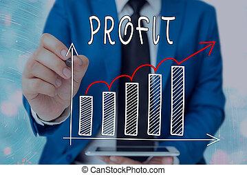 ventes, croissant, ou, économies, mot, concept, business, ...