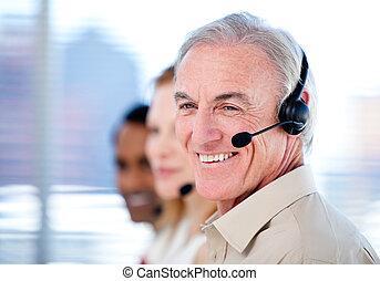 ventes, plein d'assurance, équipe, représentant, ecouteurs