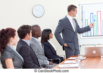 ventes, séduisant, figures, homme affaires, reportage