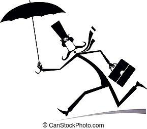 venteux, illustration, jour, homme, isolé, parapluie